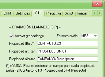Call recording software application, settings window.